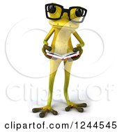 Clipart Of A 3d Bespectacled Green Ribbit Frog Reading A Book 2 Royalty Free Illustration by Julos