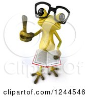 Clipart Of A 3d Bespectacled Green Ribbit Frog Holding A Thumb Up And A Book Royalty Free Illustration by Julos