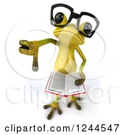 Clipart Of A 3d Bespectacled Green Ribbit Frog Holding A Thumb Down And A Book Royalty Free Illustration by Julos