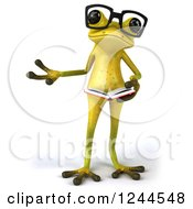Clipart Of A 3d Bespectacled Green Ribbit Frog Presenting And Holding A Book Royalty Free Illustration by Julos