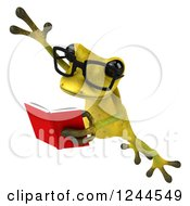 Clipart Of A 3d Bespectacled Green Ribbit Frog Leaping And Reading A Book Royalty Free Illustration by Julos
