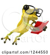 Clipart Of A 3d Bespectacled Green Ribbit Frog Leaping And Reading A Book 2 Royalty Free Illustration by Julos