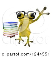 Clipart Of A 3d Bespectacled Green Ribbit Frog Jumping With A Stack Of Books 2 Royalty Free Illustration by Julos
