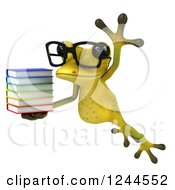 Clipart Of A 3d Bespectacled Green Ribbit Frog Jumping With A Stack Of Books Royalty Free Illustration by Julos