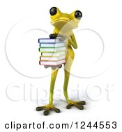 Clipart Of A 3d Green Ribbit Frog Holding A Stack Of Books Royalty Free Illustration by Julos