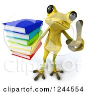 Clipart Of A 3d Green Ribbit Frog Holding A Thumb Up And A Stack Of Books Royalty Free Illustration by Julos