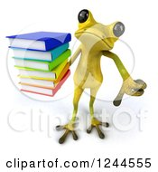 Clipart Of A 3d Green Ribbit Frog Holding A Thumb Down And A Stack Of Books Royalty Free Illustration by Julos