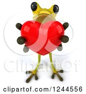 Clipart Of A 3d Green Ribbit Frog Holding Out A Red Heart Royalty Free Illustration by Julos