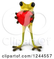 Clipart Of A 3d Green Ribbit Frog Holding A Red Heart Royalty Free Illustration by Julos