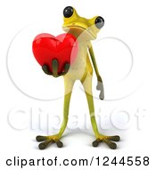 Clipart Of A 3d Green Ribbit Frog Holding A Red Love Heart Royalty Free Illustration by Julos