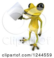 Clipart Of A 3d Green Ribbit Frog Drinking Coffee Royalty Free Illustration by Julos