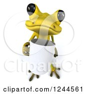 Clipart Of A 3d Green Ribbit Frog Holding A Coffee Mug Royalty Free Illustration by Julos