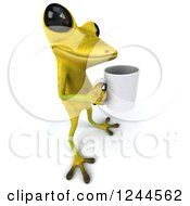 Clipart Of A 3d Green Ribbit Frog Holding A Coffee Cup Royalty Free Illustration by Julos