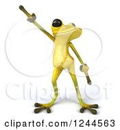 Clipart Of A 3d Green Ribbit Frog Doing A Happy Dance Royalty Free Illustration by Julos