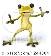 Clipart Of A 3d Green Ribbit Frog Doing A Happy Dance 2 Royalty Free Illustration by Julos