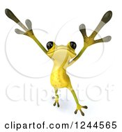 Clipart Of A 3d Green Ribbit Frog Doing A Happy Dance 4 Royalty Free Illustration by Julos