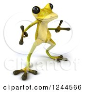 Clipart Of A 3d Green Ribbit Frog Doing A Happy Dance 3 Royalty Free Illustration by Julos