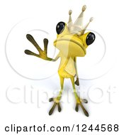 Clipart Of A 3d Green Ribbit Frog Prince Waving 2 Royalty Free Illustration by Julos