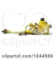 Clipart Of A 3d Green Ribbit Frog Resting Royalty Free Illustration by Julos