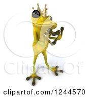 Clipart Of A 3d Green Ribbit Frog Prince Gesturing A Heart With His Hands 2 Royalty Free Illustration by Julos