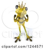 Clipart Of A 3d Green Ribbit Frog Prince Gesturing A Heart With His Hands Royalty Free Illustration by Julos