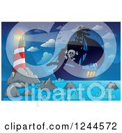 Clipart Of A Pirate Ship At Night With A Shining Lighthouse Royalty Free Vector Illustration