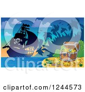 Clipart Of A Pirate Ship At Dusk With A Treasure Chest On An Island Royalty Free Vector Illustration