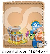Clipart Of A Pirate Captain And Parrot With A Treasure Chest On A Parchment Page Royalty Free Vector Illustration