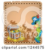 Clipart Of A Pirate Parrot With A Treasure Chest On A Parchment Page Royalty Free Vector Illustration