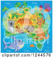 Clipart Of A Map With Australian Animals And Ocean Royalty Free Vector Illustration