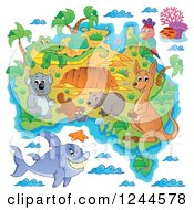 Clipart Of A Map With Australian Animals Royalty Free Vector Illustration