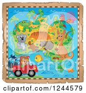 Clipart Of A Map With Australian Animals And A Safari Guy In A Jeep Royalty Free Vector Illustration by visekart