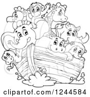 Clipart Of Black And White Cute Happy Animals On Noahs Ark Royalty Free Vector Illustration