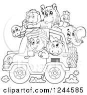 Black And White Safari Boy Driving A Jeep Full Of Animals