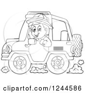 Black And White Boy Driving A Jeep