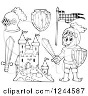 Clipart Of A Black And White Happy Knight Boy With Gear And A Castle Royalty Free Vector Illustration
