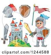 Clipart Of A Happy Knight Boy With Gear And A Castle Royalty Free Vector Illustration