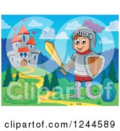 Clipart Of A Happy Knight Boy Near A Castle Royalty Free Vector Illustration by visekart