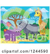 Clipart Of A Happy African Bull Giraffe Crocodile Hippo And Parrot At A Watering Hole Royalty Free Vector Illustration by visekart