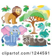 Clipart Of A Sunset And African Animals Royalty Free Vector Illustration by visekart