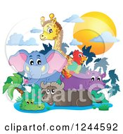 Clipart Of A Sunset And African Animals Over A Watering Hole Royalty Free Vector Illustration