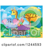 Clipart Of A Group Of African Animals At A Watering Hole At Sunset Royalty Free Vector Illustration