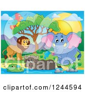 Clipart Of A Group Of Happy African Animals At A Watering Hole At Sunset Royalty Free Vector Illustration by visekart