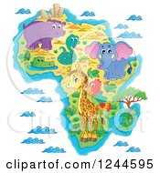 Clipart Of A Map Of Africa With Wild Animals And Ocean Waves Royalty Free Vector Illustration