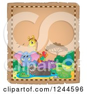Clipart Of A Parchment Background With African Animals And Text Space Royalty Free Vector Illustration
