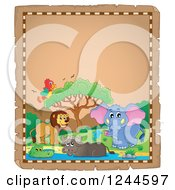 Clipart Of A Parchment Background With African Animals And Text Space 2 Royalty Free Vector Illustration