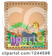 Clipart Of A Parchment Background With African Animals And Text Space 3 Royalty Free Vector Illustration