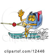 Blue Postal Mailbox Cartoon Character Waving While Water Skiing