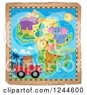 Clipart Of A Map Of Africa With Wild Animals And A Safari Man In A Jeep Royalty Free Vector Illustration