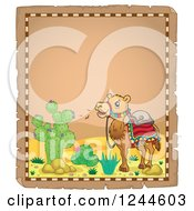 Clipart Of A Saddled Camel In A Desert On A Parchment Page Royalty Free Vector Illustration